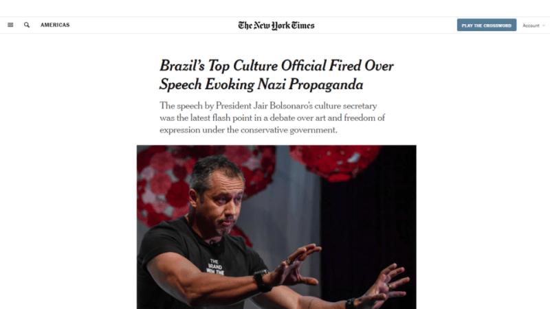 The New York Times Roberto Alvim Nazismo