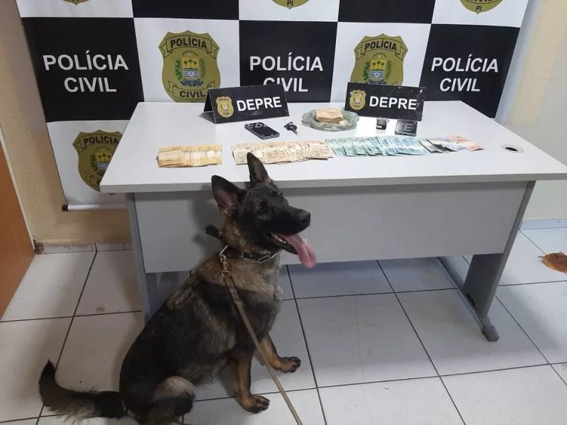 Material apreendido pela Polícia Civil com os suspeitos