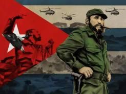 """""""Un Fidel que vive en las montañas, un rubí, cinco franjas e una estrella"""". Arte em homenagem à Fidel Castro."""