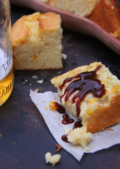 Cornbread drizzled with Memphis-style Barbecue Sauce