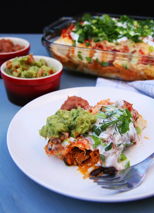 Chicken, Black Bean and Butternut Enchiladas with Applewood Smoked Cheddar