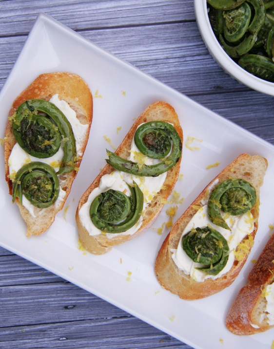 Lemon Fiddlehead Crostini