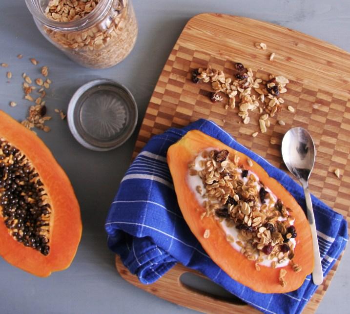 Papaya Boats with Yogurt and Granola 2
