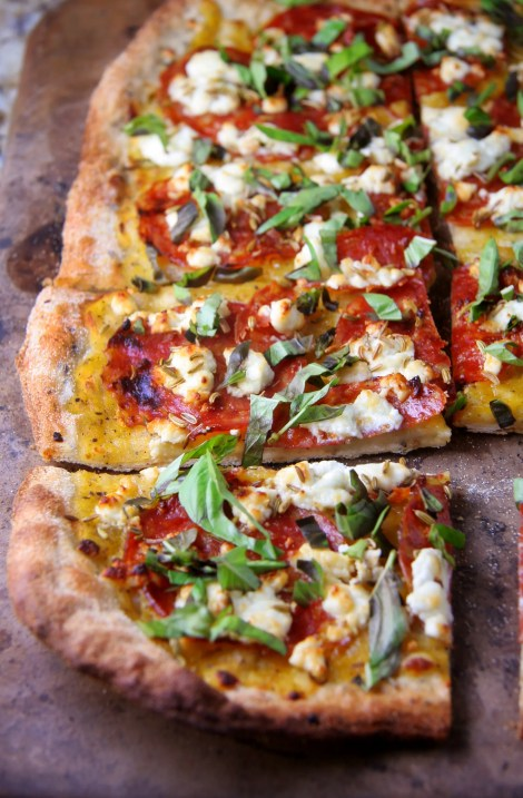 Spicy Salami & Goat Cheese Pizza with Yellow Tomato Sauce, Fennel Seeds & Fresh Basil