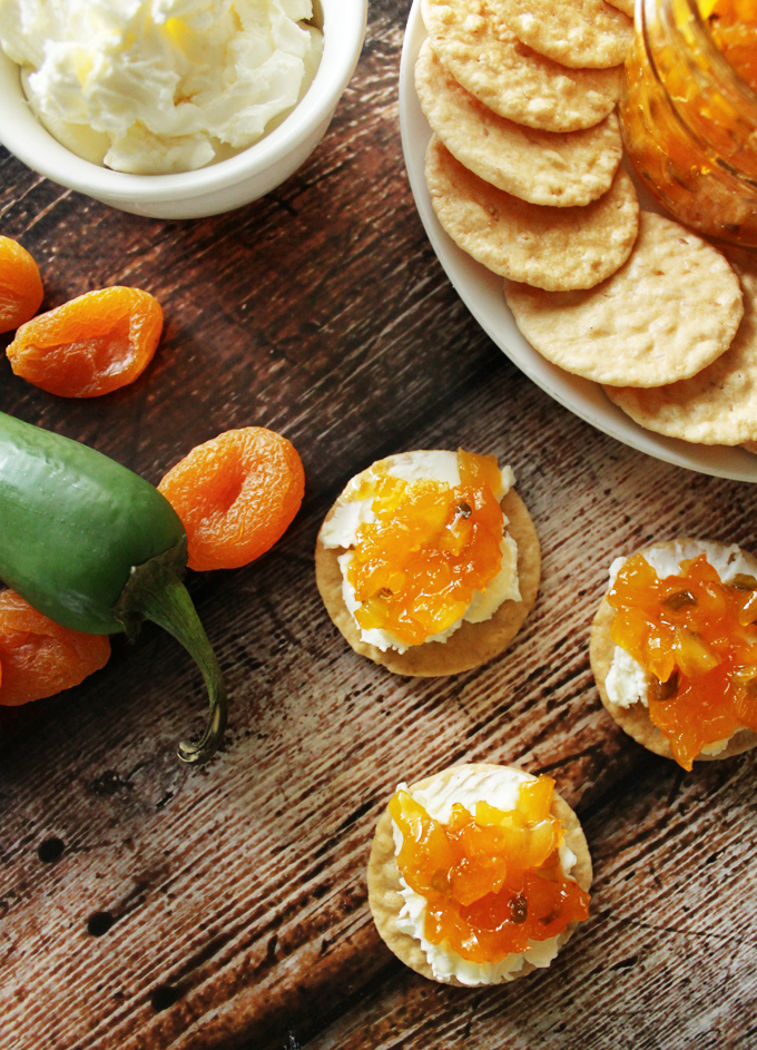 Apricot Jalapeño Spread on Cream Cheese & Crackers