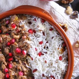 Khoresh-e Fesenjān – Persian Pomegranate Stew with Chicken, Squash & Walnuts