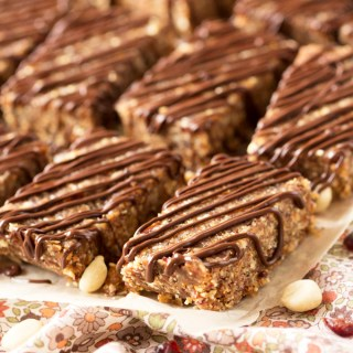 Chocolate & Peanut Butter Energy Bars with Cranberries & Oats