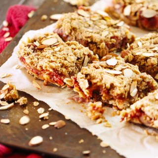 Brown Butter Rhubarb & Almond Oatmeal Bars