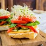 Stacked Veggie Sandwich on Focaccia