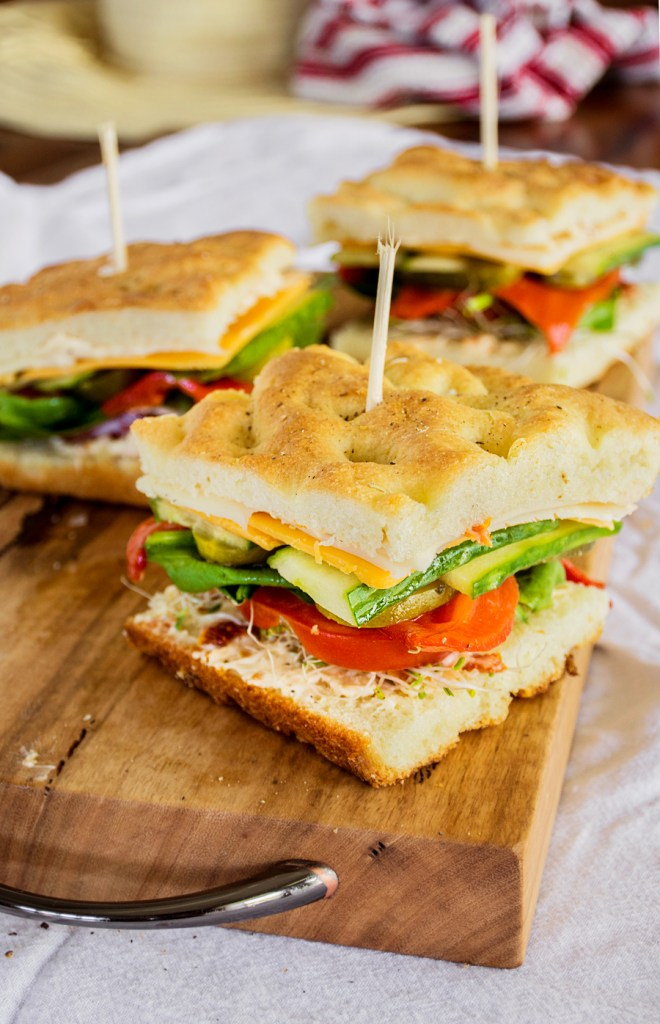 Stacked Veggie Sandwich on Focaccia