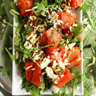 Grilled Watermelon, Feta & Arugula Salad with Balsamic