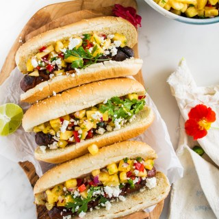 Hoisin-Glazed Hot Dogs with Fresh Pineapple Salsa