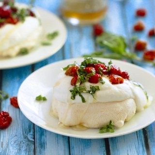 Mini Pavlovas with Salmonberries, Basil & Honey Whipped Cream
