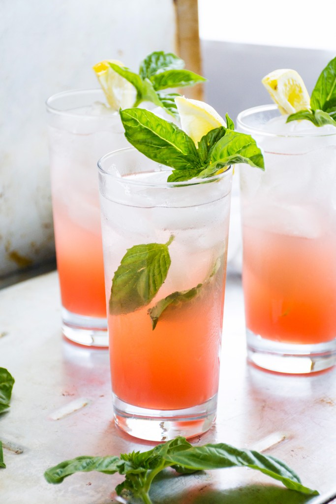 Grapefruit Soda with Honey, Basil & Lemon