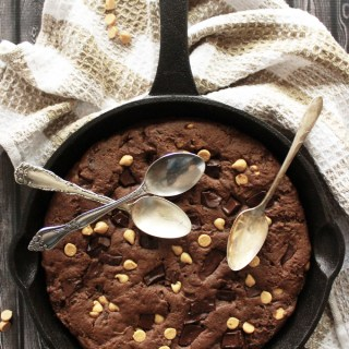 Double Chocolate & Peanut Butter Skillet Cookie