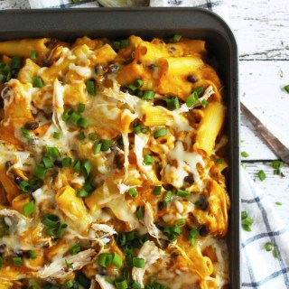 Butternut Squash, Black Bean & Chicken Pasta Bake