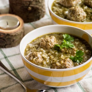 Chervil Soup with Meatballs