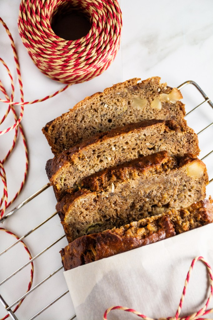 Coconut Macadamia Nut Banana Bread