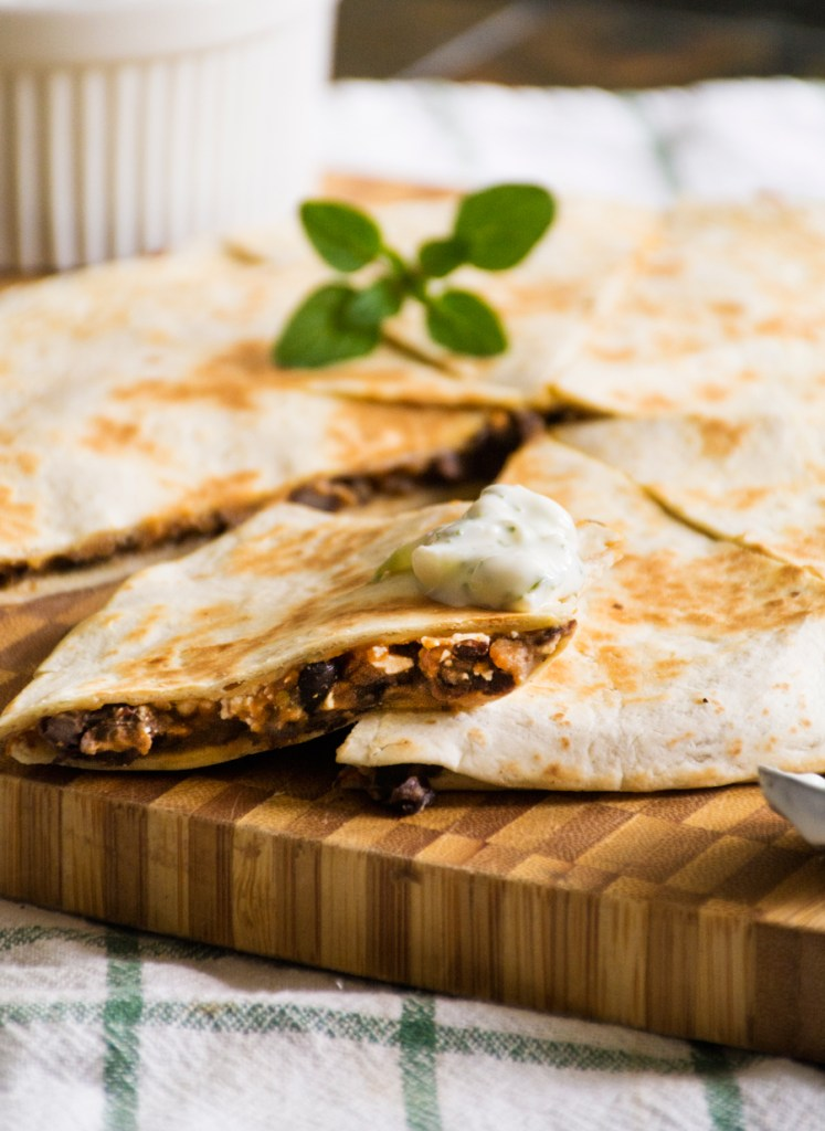 "Greek ""Quesadillas"" with Lemony Tzatziki"
