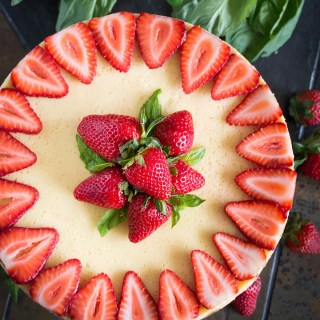 Goat Cheese Cheesecake with Strawberries, Basil & Balsamic