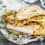 Sticky Caramelized Onion & Smoked Gouda Quesadillas
