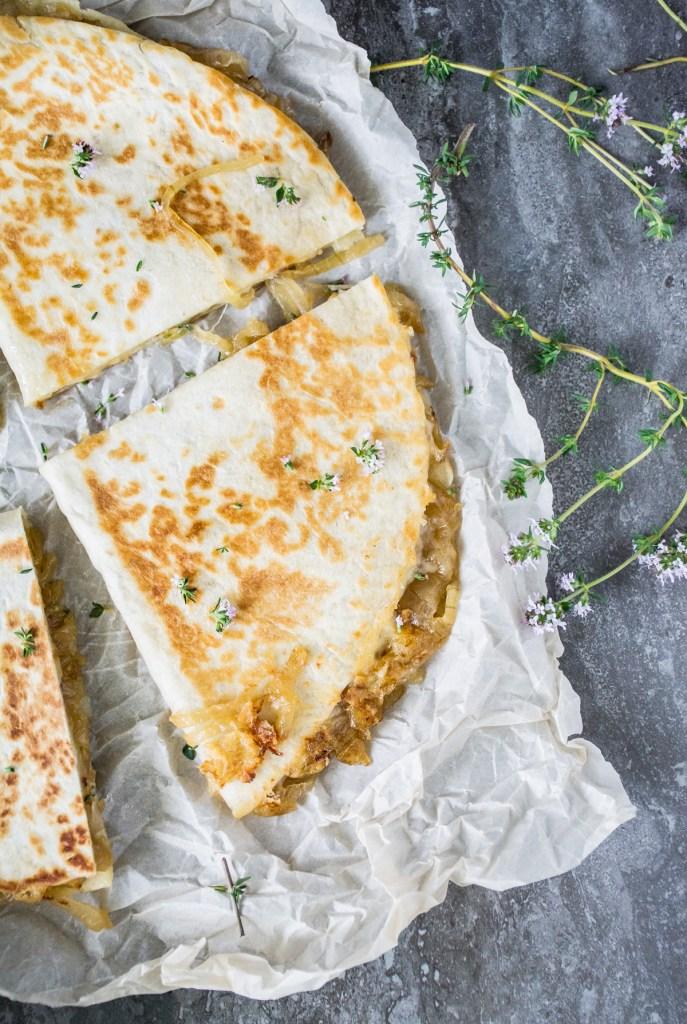 Sticky Caramelized Onion & Smoked Gouda Quesadillas