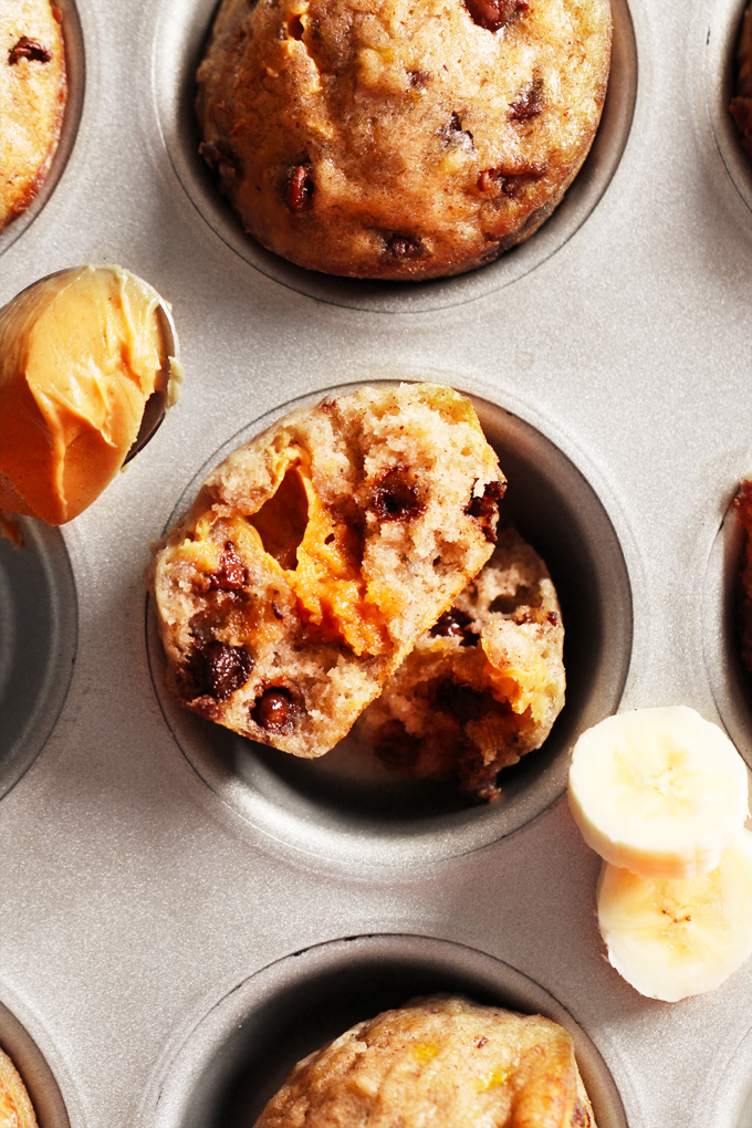 Peanut Butter Stuffed Chocolate Chip Banana Bread Muffins