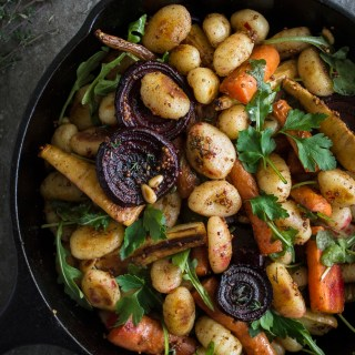 Roasted Winter Vegetables & Pan-fried Gnocchi with Brown Butter Vinaigrette