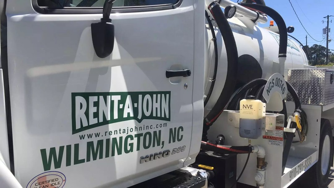 Rent-a-John truck door with print and cut graphics