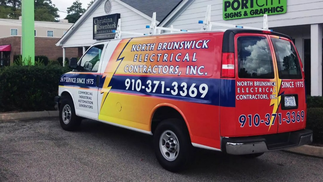 North Brunswick Electrical Contractors partial van wrap