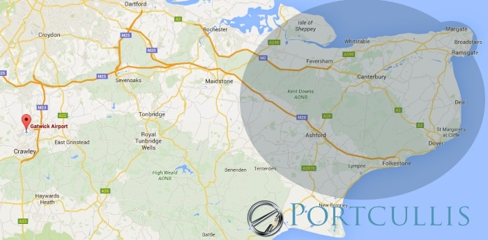 Portcullis Executive Travel | London City Airport (LCY) transfers East Kent Coverage Map