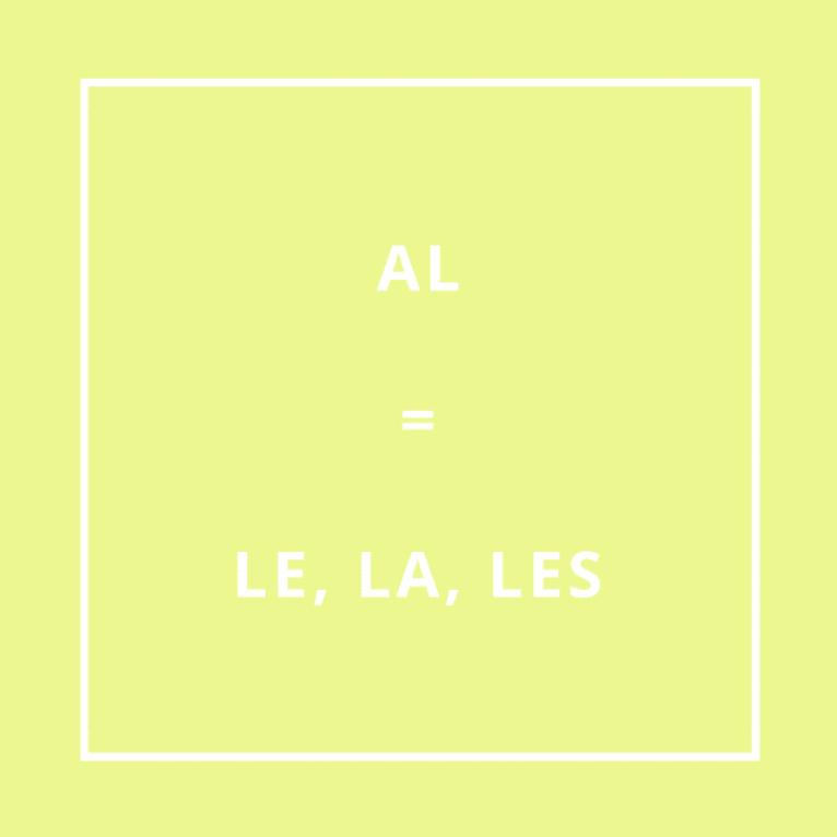 Traduction bretonne : AL = LE, LA, LES