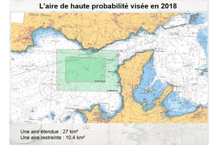 À la recherche de La Cordelière : zone de propection (carte marine)