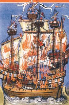 Combat entre La Cordelière et Le Regent (navire anglais) - extrait de Mary Rose Trust