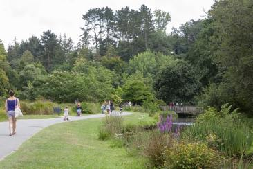 Des promeneurs marchent dans un parc
