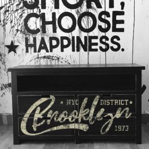 Mueble vintage Brooklyn estampado Negro