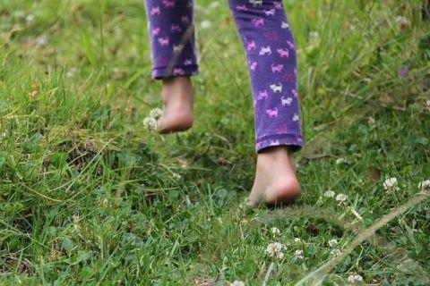 Invitez les enfants à marcher dans l'herbe.