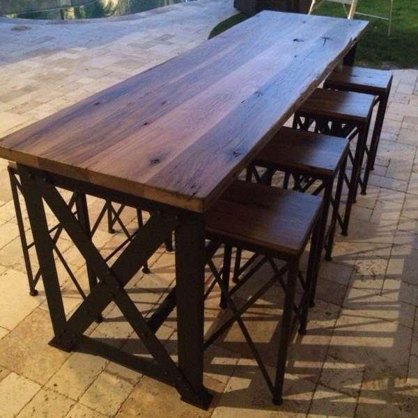 outdoor patio bar height tables Reclaimed Oak/Ash Outdoor Bar Table   Porter Barn Wood