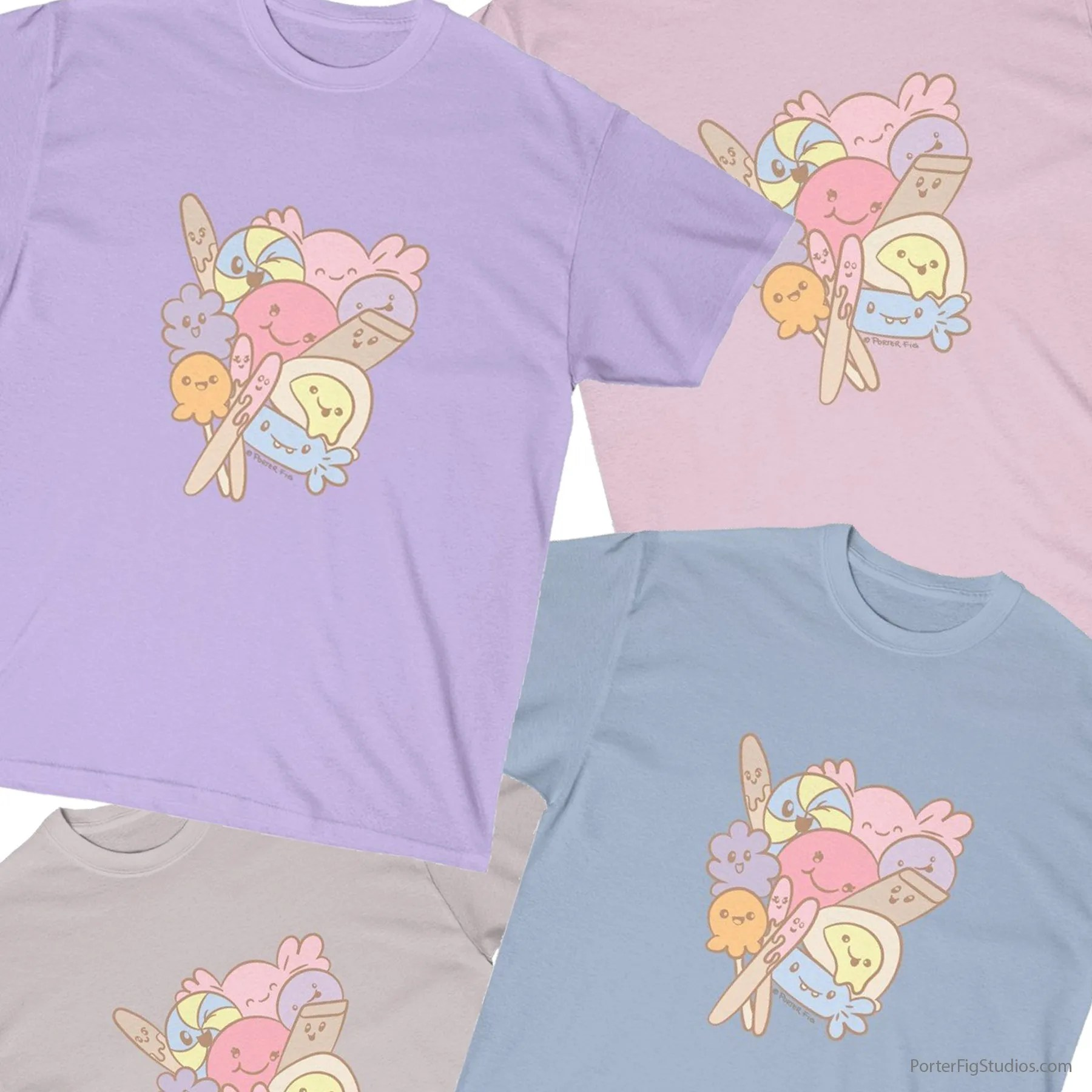 t-shirt featuring kawaii candy by porter fig studios