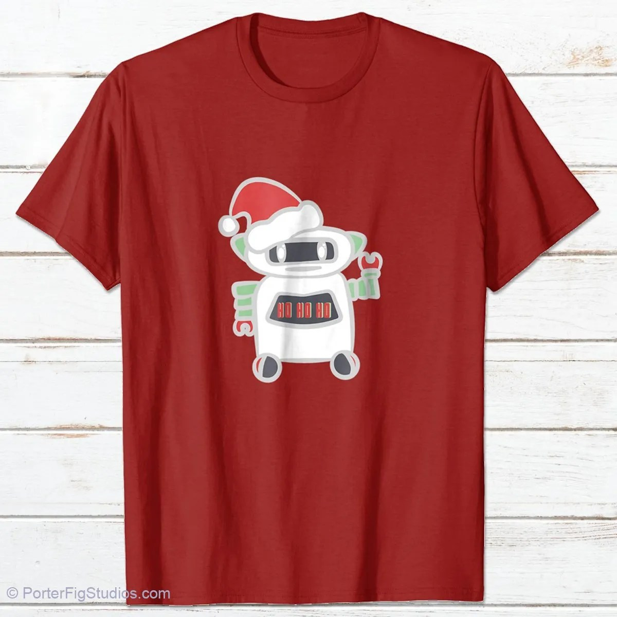 robot santa graphic t-shirt by porter fig studios