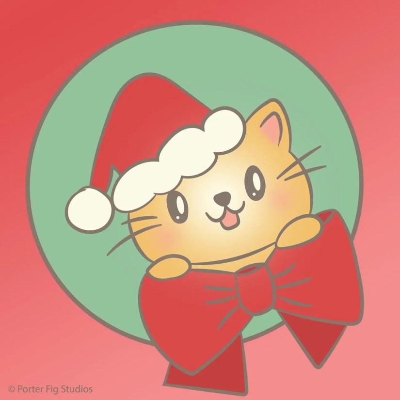 Cat wearing a santa hat