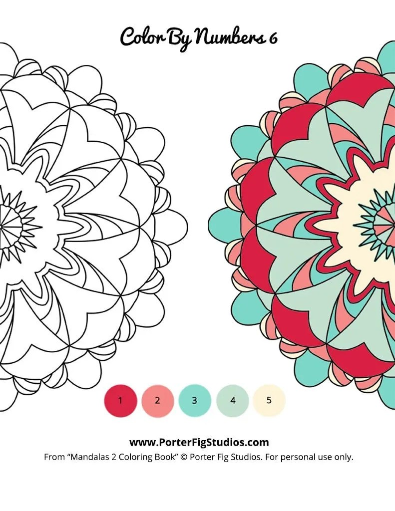 mandala color by numbers 6 by porter fig