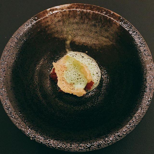Tomato tartare with basil foam @bauhausrestaurant ..#tomatotartare #basilfoam #appitizer #dinner #gastown #vancouver #amusebouche #germanrestaurant - from Instagram