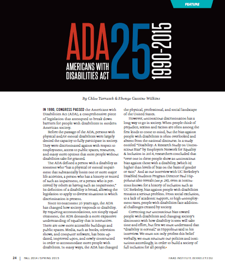 Front page of ADA 25 Years Article