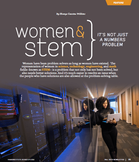 "First page of ""Women and STEM"" feature article."