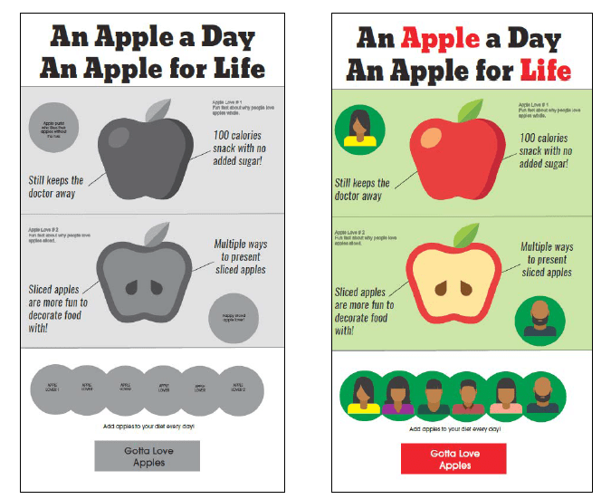 Side by side example of an infographic wireframe with the color version.