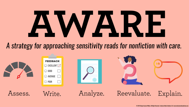 AWARE: A strategy for approaching sensitivity reads for nonfiction with care summary infographic