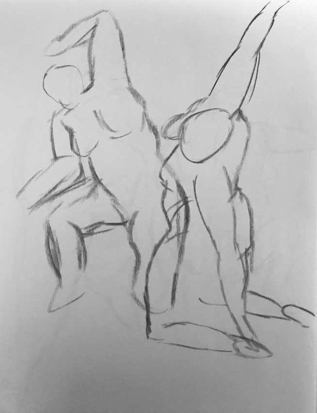 Gesture Drawings 1-2 (1m (each), 9/25)