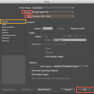 Select PostScript for the Printer and choose aPPD