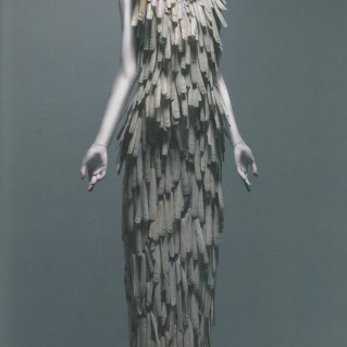 Dress, VOSS, spring/summer 2001, Razor clam shells stripped and varnished.